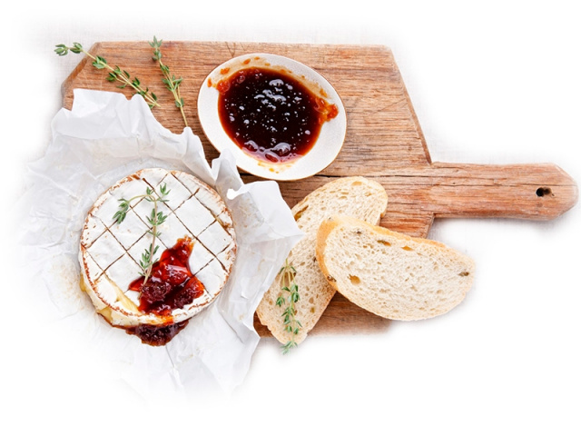 Baked Camembert with Red Onion & Jalapeno Relish