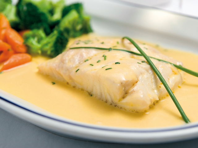 Poached Cod with White Sauce, Parsley & Lemon