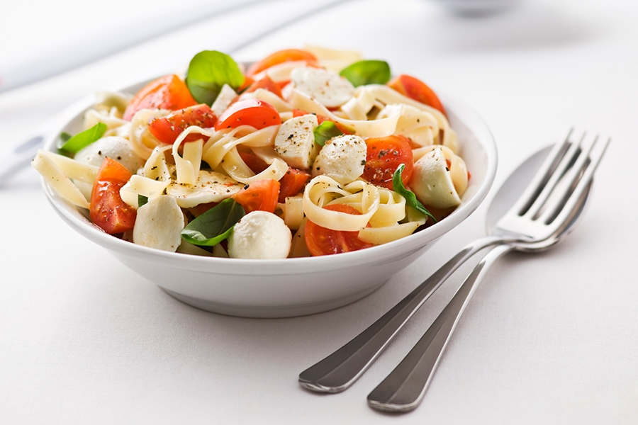 Tomato, Basil and Mozzarella Pasta with Honey & Mustard Dressing
