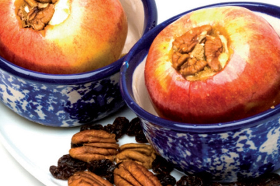 Baked Apples with Pecans and Balsamic Syrup