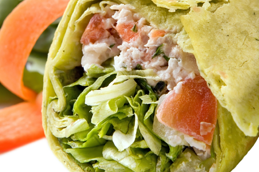Salmon and Avocado Wraps with Caesar Dressing